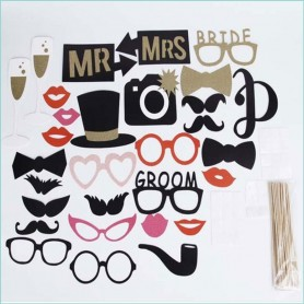 Bride & Groom Hochzeit Photobooth-Set
